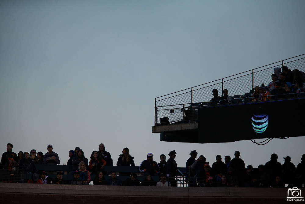 Silhouettes of fans at AT&T Park in San Francisco, Calif., on August 12, 2016. (Stan Olszewski/Special to S.F. Examiner)