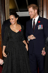 The Duke and Duchess of Sussex attend the annual Royal British Legion Festival of Remembrance at the Royal Albert Hall in Kensington, London. PA Photo. Picture date: Saturday November 9, 2019. See PA story ROYAL Remembrance. Photo credit should read: Chris Jackson/PA Wire