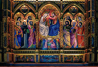 """""""Triptych above the altar of the Church of San Domenico - Cortona""""...<br /> <br /> This image was created in Cortona in what appeared to be a nondescript church on the edge of the walls surrounding the town… little did I know the history or famously beautiful art displayed inside.  The Gothic Church of San Domenico was built in the 15th century as part of the Dominican Monastery. Sant'Antonio the Bishop of Florence and Blessed Fra Angelico, who is the patron Saint of artists and is called the """"Blessed Angelic One"""", lived in the monastery. The facade is simple and harmonious and the lunette over the doorway is a fresco by Fra Angelico. The interior has a single nave. Despite the reformations of the baroque altars, the church has retained its primitive beauty, especially enhanced by the elegance of the archways of the apses and the raised presbytery. The prestigious work of art on the high altar is a triptych signed by Lorenzo di Niccolò, donated in 1440 by Cosimo and Lorenzo de' Medici. The reason for such generosity was to influence Fra Angelico to reside in Florence and paint the Monastery of San Marco. The triptych depicts the Coronation of the Virgin with other scenes of the Annunciation and the Crucifixion. On the left apse of the church there is the Madonna with Angels and Saints by Luca Signorelli.  In Italy, many glorious surprises and blessings may be discovered in the least celebrated and prominent locations…"""