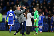 Neil Warnock, the Cardiff city manager celebrates at the end of the game after his team win 1-0. EFL Skybet championship match, Cardiff city v Aston Villa at the Cardiff City Stadium in Cardiff, South Wales on Monday 2nd January 2017.<br /> pic by Andrew Orchard, Andrew Orchard sports photography.