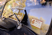 1968 Western Australian License Sticker on windscreen of a 1938 Chrysler Plymouth. 2011 Classic Car Show, Whiteman Park, Perth, Western Australia. March 20, 2011