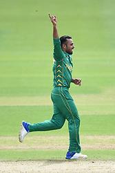 Pakistans' Fahim Ashraf celebrates taking the wicket of Sri Lanka's Dinesh Chandimal during the ICC Champions Trophy, Group B match at Cardiff Wales Stadium.