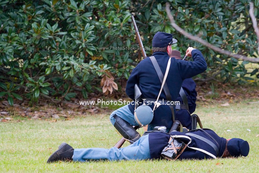 Arkansas, AR, USA, Old Washington State Park, Civil War Weekend. Union soldiers at battle