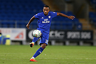Loic Damour of Cardiff city in action.Carabao Cup 2nd round match, Cardiff city v Burton Albion at the Cardiff City Stadium in Cardiff, South Wales on Tuesday 22nd August  2017.<br /> pic by Andrew Orchard, Andrew Orchard sports photography.