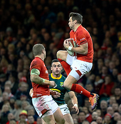 Dan Biggar of Wales claims the high ball<br /> <br /> Photographer Simon King/Replay Images<br /> <br /> Under Armour Series - Wales v South Africa - Saturday 24th November 2018 - Principality Stadium - Cardiff<br /> <br /> World Copyright © Replay Images . All rights reserved. info@replayimages.co.uk - http://replayimages.co.uk