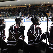 Union College players, from left, Cole Ikkala, Mike Vecchione, Daniel Ciampini and Nick Cruice watch action from the bench during the Yale Vs Union College, Men's College Ice Hockey game at Ingalls Rink, New Haven, Connecticut, USA. 28th February 2014. Photo Tim Clayton