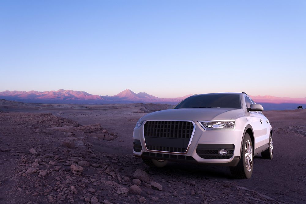 3D rendering of a SUV in the Atacama Desert in Chile