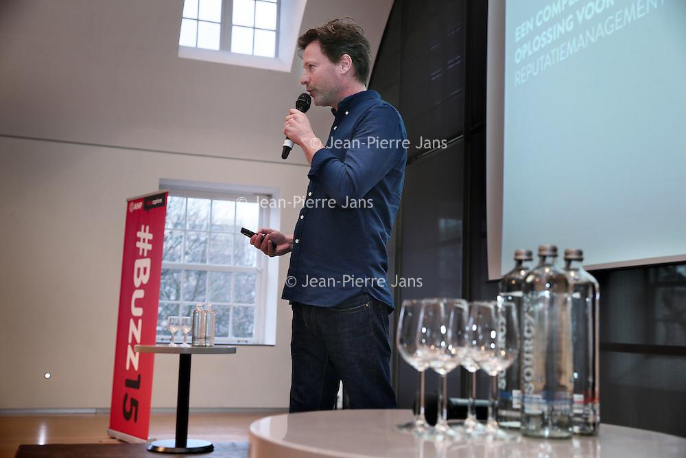 Nederland, Amsterdam , 26 maart 2015.<br />  Buzzcapture en ANP organiseren samen Buzz15. Hét jaarlijkse evenement voor klanten en prospects: marketing-communicatie managers, woordvoerders, corporate communicatie managers en CEO's in de Hermitage.<br /> Aan het woord is Alex van Leeuwen van Buzzcapture<br /> Foto:ANPinOpdracht/Jean-Pierre Jans
