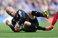 Goalkeeper Kasper Schmeichel of Leicester City in action. Premier league match, Chelsea v Leicester city at Stamford Bridge in London on Saturday 15th October 2016.<br /> pic by John Patrick Fletcher, Andrew Orchard sports photography.