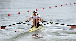 Germany's Lars Wiechert in the Lightweight Men's Single Sculls heat two during day one of the 2018 European Championships at the Strathclyde Country Park, North Lanarkshire