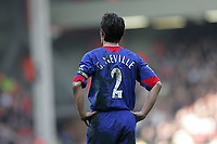 Photo: Lee Earle.<br /> Liverpool v Manchester United. The FA Cup. 18/02/2006. United captain Gary Neville is dejected after losing to Liverpool.