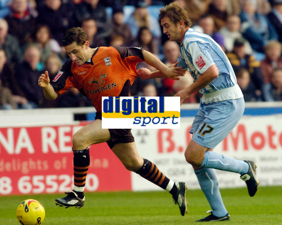 Photo: Leigh Quinnell.<br /> Coventry City v Ipswich Town. Coca Cola Championship.<br /> 19/11/2005. Ipswichs' Nicky Forster sprints past Coventrys Matt Heath.