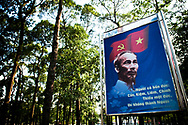 Propaganda billboard in the park surrounding Reunification Palace, Ho Chi Minh city, Vietnam, Southeast Asia