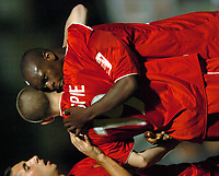 Picture: Henry Browne.Digitalsport<br /> Date: 24/08/2004.<br /> Wycombe Wanderers v Bristol City Carling Cup First Round.<br /> <br /> Leroy Lita is congratulated by Steven Gillespie of City after his goal.