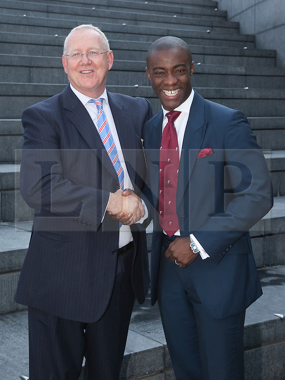 """© licensed to London News Pictures. London, UK  05/07/2011. Portrait of Simon Waugh, Executive Chairman of the National Apprenticeship Service and Tim Campbell, Apprenticeship Ambassador and former BBC """"The Apprentice"""" winner. Mayor of London Boris Johnson was joined by more than 150 apprentices and employers to celebrate beating his target of creating 20,000 apprenticeship opportunities in the capital. Working in partnership with the National Apprenticeship Service (NAS), the Mayor's campaign has seen a total of 28,120 people finding places on schemes with companies across a wide range of the capital's business sectors. The 20,000 target has been smashed three months early and by almost 50 per cent. Please see special instructions for usage rates. Photo credit should read Bettina Strenske/LNP"""