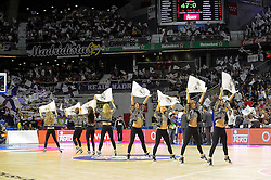 15.04.2015, Palacio de los Deportes stadium, Madrid, ESP, Euroleague Basketball, Real Madrid vs Anadolu Efes Istanbul, Playoffs, im Bild Real Madrid´s cheerleaders dancing // during the Turkish Airlines Euroleague Basketball 1st final match between Real Madrid vand Anadolu Efes Istanbul t the Palacio de los Deportes stadium in Madrid, Spain on 2015/04/15. EXPA Pictures © 2015, PhotoCredit: EXPA/ Alterphotos/ Luis Fernandez<br /> <br /> *****ATTENTION - OUT of ESP, SUI*****