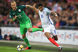 5 October 2017 -  2018 FIFA World Cup Qualifying (Group F) - England v Slovenia - Marcus Rashford of England tangles with Aljaz Struna of Slovenia - Photo: Marc Atkins/Offside