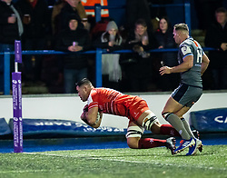 Jordan Coghlan of Leicester Tigers scores his sides first try<br /> <br /> Photographer Simon King/Replay Images<br /> <br /> European Rugby Challenge Cup Round 2 - Cardiff Blues v Leicester Tigers - Saturday 23rd November 2019 - Cardiff Arms Park - Cardiff<br /> <br /> World Copyright © Replay Images . All rights reserved. info@replayimages.co.uk - http://replayimages.co.uk