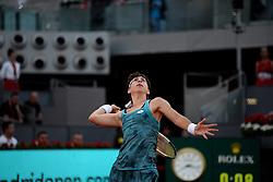 May 6, 2019 - Madrid, Spain - Carla Suarez (SPA) in her match against Viktoria Kuzmova ( SVK) during day three of the Mutua Madrid Open at La Caja Magica in Madrid on 6th May, 2019. (Credit Image: © Juan Carlos Lucas/NurPhoto via ZUMA Press)