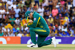August 1, 2018 - Dambulla, Sri Lanka - South African cricket captain Faf Du Plessis reatcs during the 2nd One Day Internataional cricket match between Sri Lanka and South Africa at Rangiri Dambulla International Stadium, Dambulla, Sri Lanka on Wednesday 1st August 2018. (Credit Image: © Tharaka Basnayaka/NurPhoto via ZUMA Press)