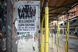 © Licensed to London News Pictures. 19/10/2020. Manchester, UK. A poster in Northern Quarter displays the Bullingdon Club. Photo credit: Kerry Elsworth/LNP