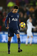 Dele Alli of Tottenham Hotspur in action.Premier league match, Swansea city v Tottenham Hotspur at the Liberty Stadium in Swansea, South Wales on Tuesday 2nd January 2018. <br /> pic by  Andrew Orchard, Andrew Orchard sports photography.