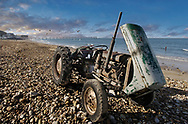 By The Sea - Saltburn  colour photo art pictures by Paul Williams of a tractor on the beach, England. .<br /> <br /> Visit our REPORTAGE & STREET PEOPLE PHOTO ART PRINT COLLECTIONS for more wall art photos to browse https://funkystock.photoshelter.com/gallery-collection/People-Photo-art-Prints-by-Photographer-Paul-Williams/C0000g1LA1LacMD8