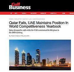 Gulf Business; Skyline of Business Bay in Dubai at dusk