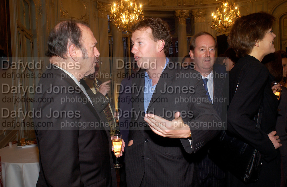 Harold Pinter and Orlando Fraser, Flora Fraser launch party for her book ' Princesses the Daughters of George 111' the Savile club, Brook St. 14 September 2004. SUPPLIED FOR ONE-TIME USE ONLY-DO NOT ARCHIVE. © Copyright Photograph by Dafydd Jones 66 Stockwell Park Rd. London SW9 0DA Tel 020 7733 0108 www.dafjones.com