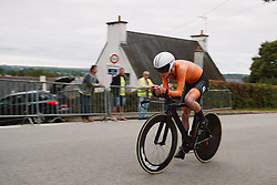 Elise Uijen (NED) wins the 2020 UEC Road European Championships - Junior Women ITT, a 25.6 km individual time trial in Plouay, France on August 24, 2020. Photo by Sean Robinson/velofocus.com
