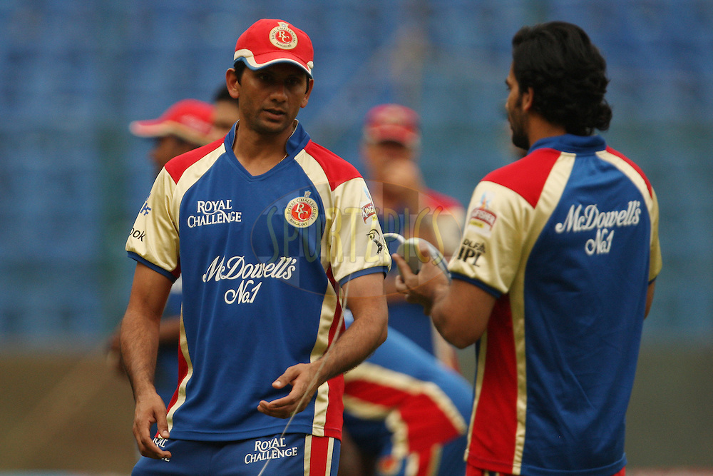 Venkatesh Prasad with Zaheer Khan during Royal Challengers Bangalore practice session and press conference held at the M. Chinnaswamy Stadium, Bengaluru on the 9th April 2012..Photo by Jacques Rossouw/IPL/SPORTZPICS