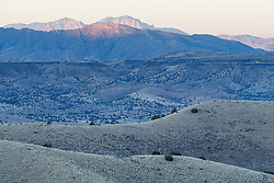 Landscape near Indian Peak at dusk, Ladder Ranch, west of Truth or Consequences, New Mexico, USA.