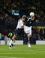 Photo: Andrew Unwin.<br />Scotland v USA. International Challenge. 12/11/2005.<br />Scotland's Garry O'Connor (R) presses for a second goal.