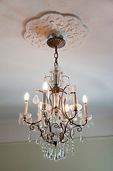 Chandelier hanging to ceiling, Budapest, Hungary