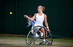Diede De Groot in action during the Ladies Wheelchair singles on day ten of the Wimbledon Championships at The All England Lawn Tennis and Croquet Club, Wimbledon.  PRESS ASSOCIATION Photo. Picture date: Thursday July 13, 2017. See PA story TENNIS Wimbledon. Photo credit should read: Steven Paston/PA Wire. RESTRICTIONS: Editorial use only. No commercial use without prior written consent of the AELTC. Still image use only - no moving images to emulate broadcast. No superimposing or removal of sponsor/ad logos.