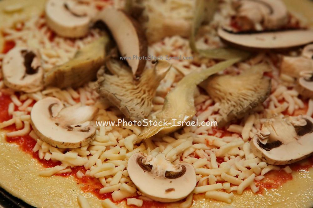Freshly baked mushroom pizza