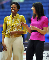 The Prime Minister David Cameron's wife Samantha with the first Lady Michelle Obama visit the American University in Washington , Tuesday March 13, 2012 . Photo By Andrew Parsons/ i-Images