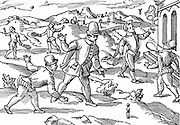 Children's games in 16th century: In foreground boys are playing a form of skittles, on right shuttlecock, left background  playing at ball with strung rackets. Woodcut.