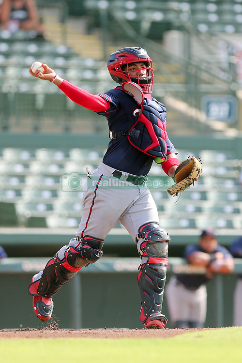 July 17, 2018 - Sarasota, FL, U.S. - Sarasota, FL - JUL 17: Kinady Salva (1) of the Twins tosses the ball down to second base during the Gulf Coast League (GCL) game between the GCL Twins and the GCL Orioles on July 17, 2018, at Ed Smith Stadium in Sarasota, FL. (Photo by Cliff Welch/Icon Sportswire) (Credit Image: © Cliff Welch/Icon SMI via ZUMA Press)