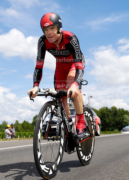 France, July 24 2010: BMC's Cadel Evans during the Stage 19, the final time trial from Bordeaux to Pauillac of the 2010 Tour de France cycle race..Copyright 2010 Peter Horrell