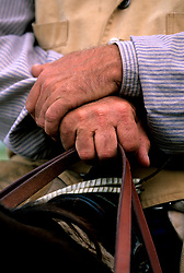 close up of a cowboy's hands holding the reins