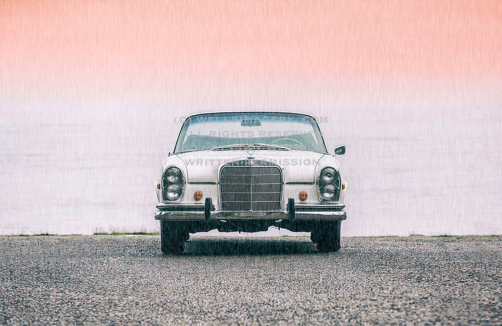 Rain on White 1966 Mercedes Benz 250SE convertible, cabriolet, Washington, Pacific Northwest by Randy Wells