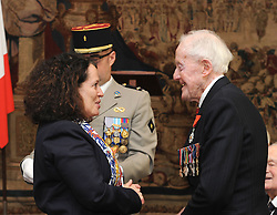 Veteran Humphrey Tottenham, 94, from Wiltshire, receives the Legion d'honneur, France's highest distinction, from the French Ambassador Sylvie Bermann for his role in liberating France during the Second World War, during a ceremony at the Ambassador's residence in Kensington, London.