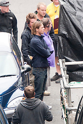 "Brad Pitt on the set of the movie ""World War Z"" being shot in the city centre of Glasgow. The film, which is set in Philadelphia, is being shot in various parts of Glasgow, transforming it to shoot the post apocalyptic zombie film."