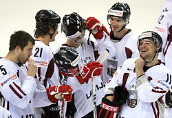 Happy Latvian team after victory at ice-hockey match Latvia vs Norway at Qualifying round Group F of IIHF WC 2008 in Halifax, on May 11, 2008 in Metro Center, Halifax, Canada. (Photo by Vid Ponikvar / Sportal Images)