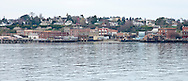 Panoramic view of the Port Townsend waterfront from Port Townsend Bay, Puget Sound, Washington, USA.
