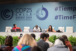 4 December 2019, Madrid, Spain: Meeting of the Youth Non-governmental organizations (YOUNGO) at COP25 in Madrid.