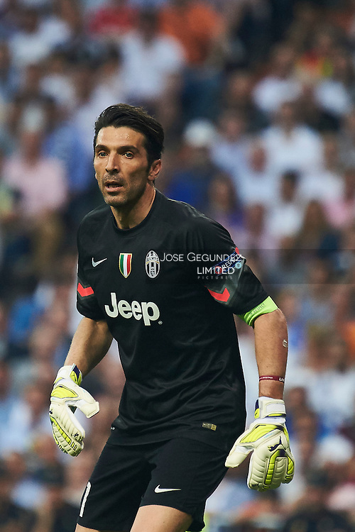 Gianluigi Buffon in action during the Champions League, semifinal match between Real Madrid  and Juventus at Santiago Bernabeu Stadium on May 13, 2015 in Madrid, Spain