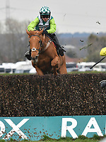 National Hunt Horse Racing - 2019 Randox Health Grand National Festival - Friday, Day Two (Ladies Day)<br /> <br /> 14:50 Aintree<br /> Fri 5 April 2019<br /> Betway Mildmay Novices' Chase (Grade 1) (Class 1)<br /> 3m 210y, Soft (Good to Soft in places)<br /> 6 Runners<br /> <br /> 2nd placed Topofthegame jumps the last <br /> <br /> <br /> COLORSPORT/WINSTON BYNORTH
