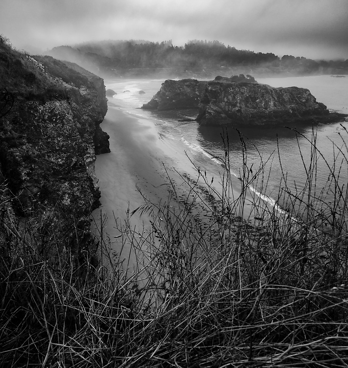 Point Mendocino, California in black and white.